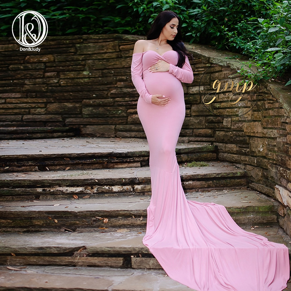 Don&Judy Long Sleeve Maternity Gown Cotton Maxi Dress Pregnant Women Clothes Photography Pregnancy Dress Maternity Dresses enlarge