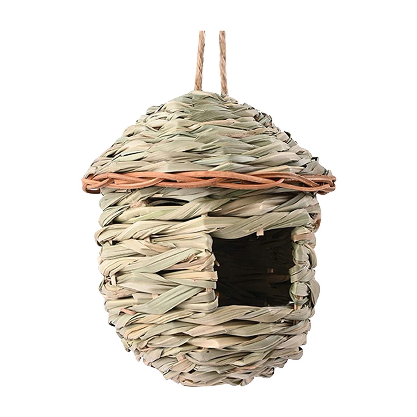 Nido de Pájaro colgante tejido de paja, caja para decoración de jardín...