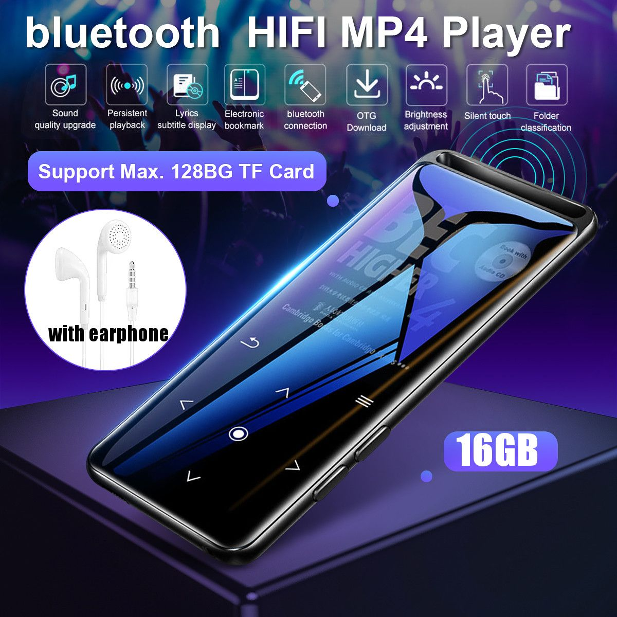 16gb bluetooth mp3 player fones de ouvido de alta fidelidade rádio fm mini usb mp3 esportes mp 4 players música portátil alta fidelidade gravador gravação voz Reprodutor de MP3    -