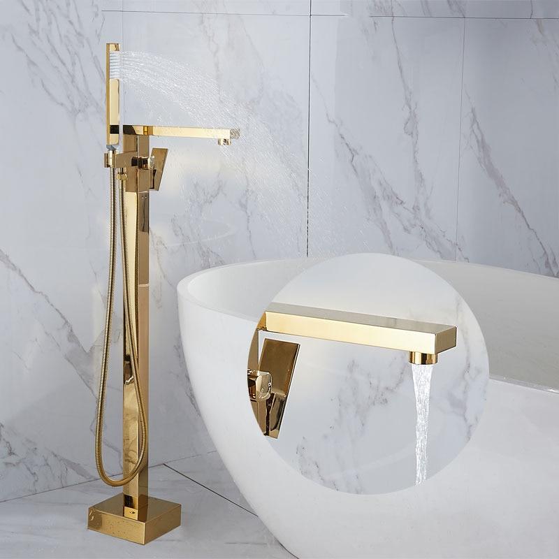 صنبور حوض استحمام ودش يدوي ، ذهبي ، فاخر ، مثبت على الأرض