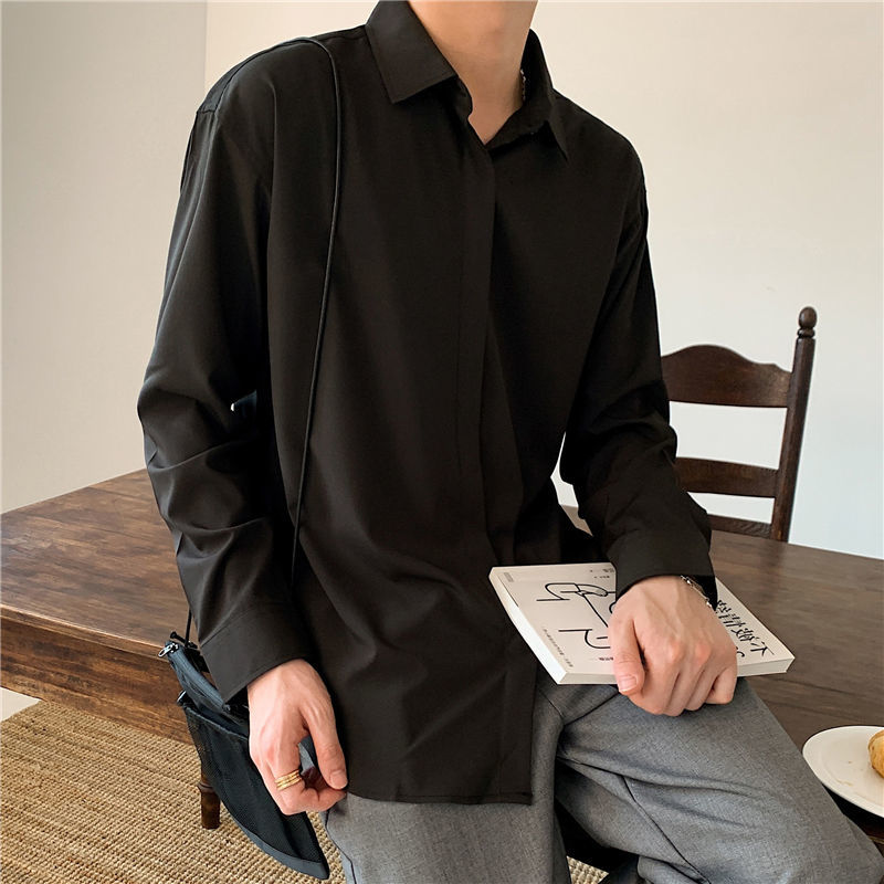 Корейские модные новые драпированные рубашки для мужчин, Однотонная рубашка с длинными рукавами из ледяного шелка, Удобная Повседневная ру...