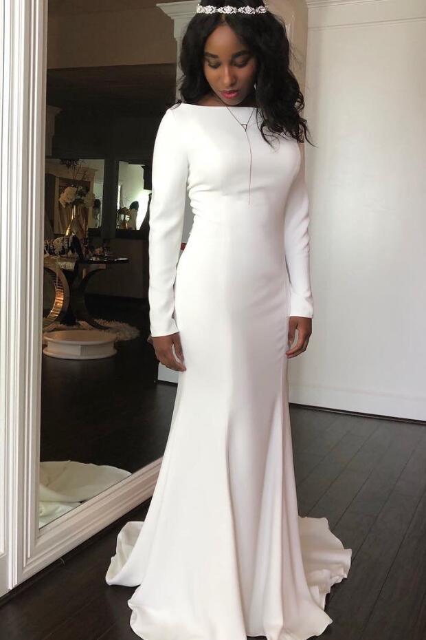 Vestido de novia con mangas largas, elegante Crepe sirena Modest 2020, cuello bote, vestidos de novia estilo bohemio, botones de encaje en la espalda