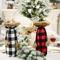 2pcs christmas supplies plush lattice wine bottle cover creative new wine bottle bag nordic home red wine cover decoration