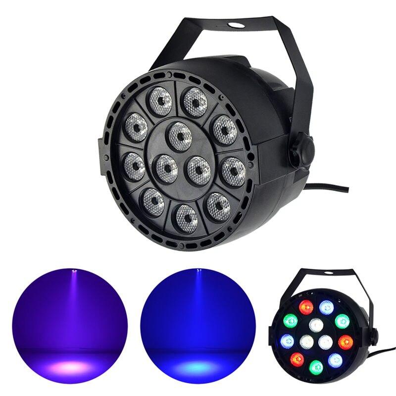 Mini Portable 12W Dance Floor LED Flat PAR Dimming Light DMX Disco Ball Spotlight Lamp RGBW DJ Party Show Stage Strobe Lighting