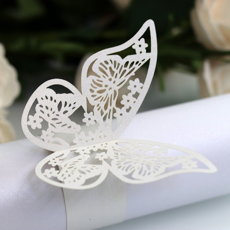 50 Uds. Servilletas de papel cortadas con láser de estilo mariposa, servilletas en 10 colores, servilletas para Decoración de mesa de cumpleaños, fiesta de bodas