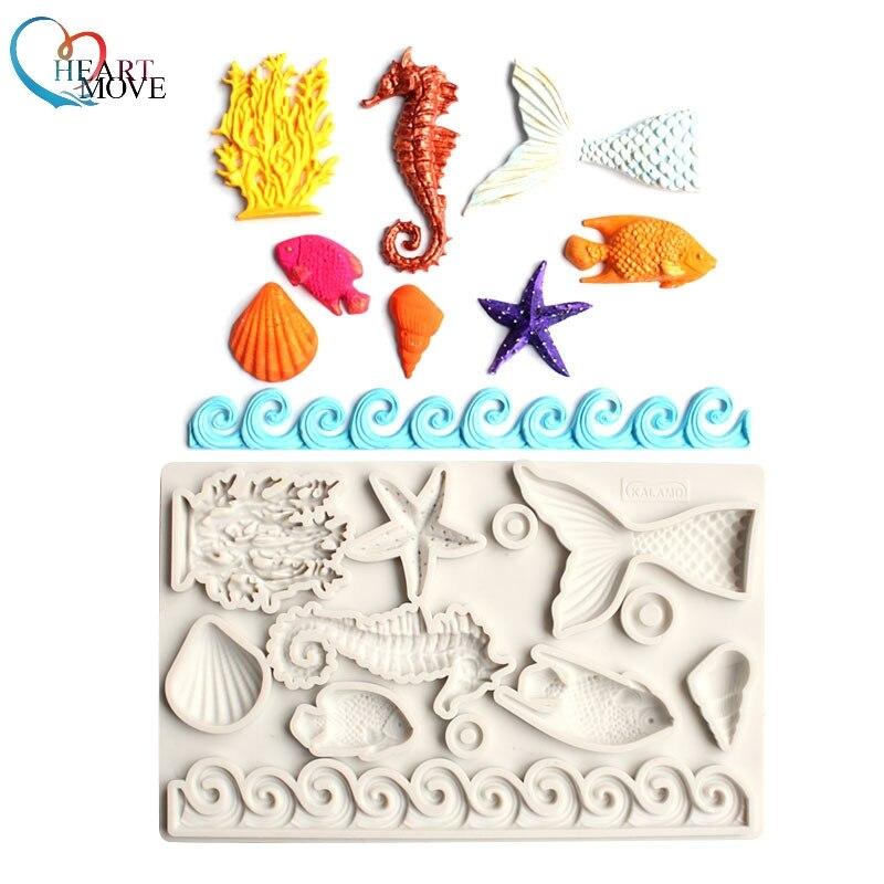 Новая ракушка морская силиконовая форма инструменты для украшения тортов из мастики DIY морская животная серия силиконовая форма шоколадна...