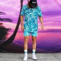 new summer mens print suit fashion trend hawaiian casual suit mens lapel shirt beach shorts two piece suit men clothing