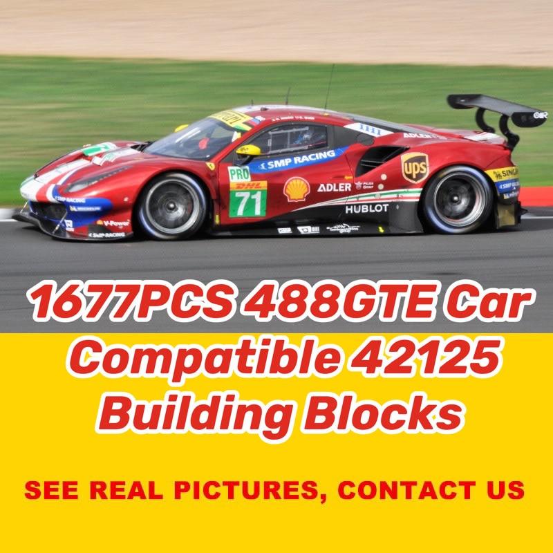 Nouvelle série technique Supercar 488 GTE Lamborghinis Roadsters voiture SIANs modèle blocs de construction briques jouet pour garçons cadeaux 42125 42056