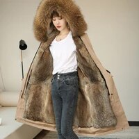 women parka real fur coat big natural raccoon fur collar hooded rabbit fur parkas warm thick 2020 parka winter jacket