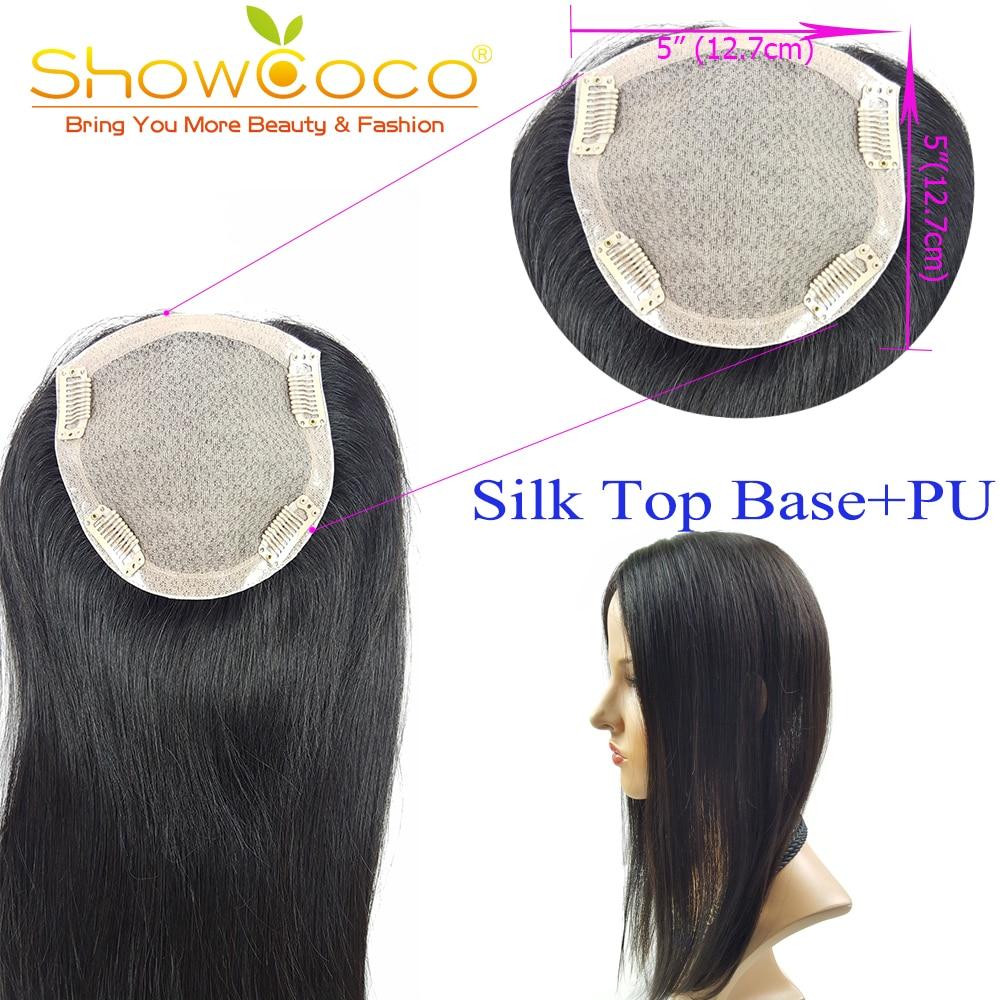 Pelo humano virgen Topper pelo Premium 5*5 seda Base Clip en el pelo de tupé para mujer 130% densidad topper piezas para el cabello Showcoco