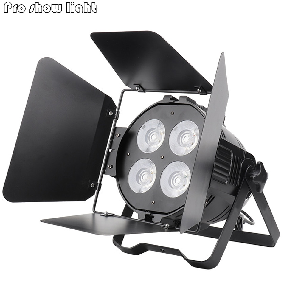 250W COB 4X50W Cool White and Warm White Led Par Can 4/8 DMX DJ Stage Light Theater Party Disco Wash Spotlight With Barn Door