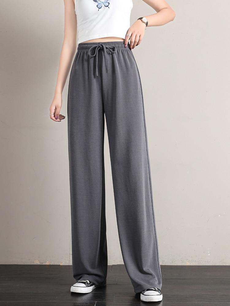 Spot Goods Cuprammonuium Silk Wide Leg Pants Women's High Waist Drooping Spring and Autumn 2021 Summ
