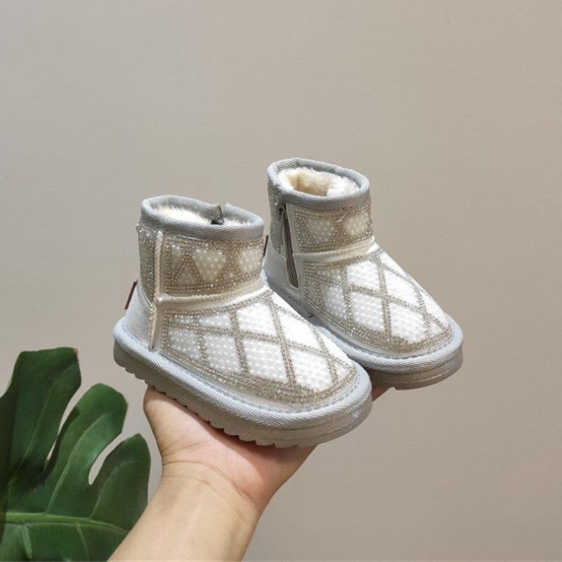 2020 جديد الشتاء الاطفال الثلوج الأحذية سلسلة حبة حجر الراين الأطفال الأحذية أفخم أحذية دافئة الفتيات الموضة حذاء طفل صغير