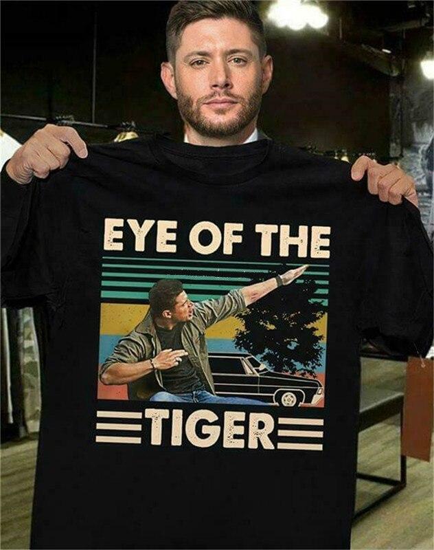 Dean winchester olho sobrenatural do tigre vintage retro, presente para os homens quente verão casual camiseta masculina marca tshirt verão Camisetas    -