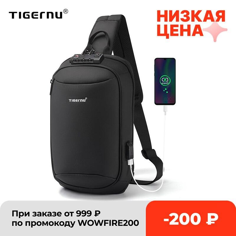Tigernu-حقيبة كروس للرجال ، حقيبة صدر عالية الجودة ، مقاومة للرذاذ ، مقاومة للسرقة ، شحن USB ، كاجوال ، 2021