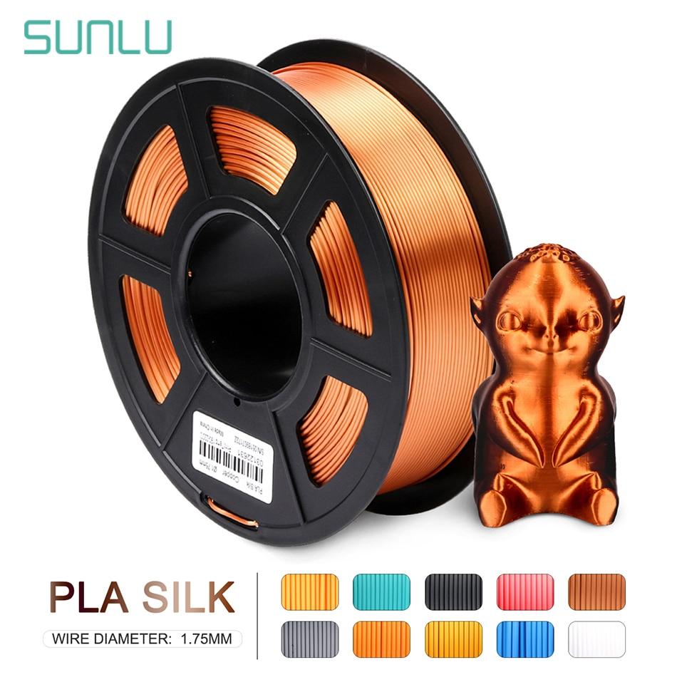 SUNLU الحرير PLA ثلاثية الأبعاد خيوط 1.75 مللي متر 1 كجم نسيج الحرير PLA خيوط للطابعة ثلاثية الأبعاد الطباعة بسلاسة
