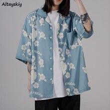 Women Shirts Short Sleeve Casual Summer Print Thin Outwear Loose Oversize Tops Students Streetwear A