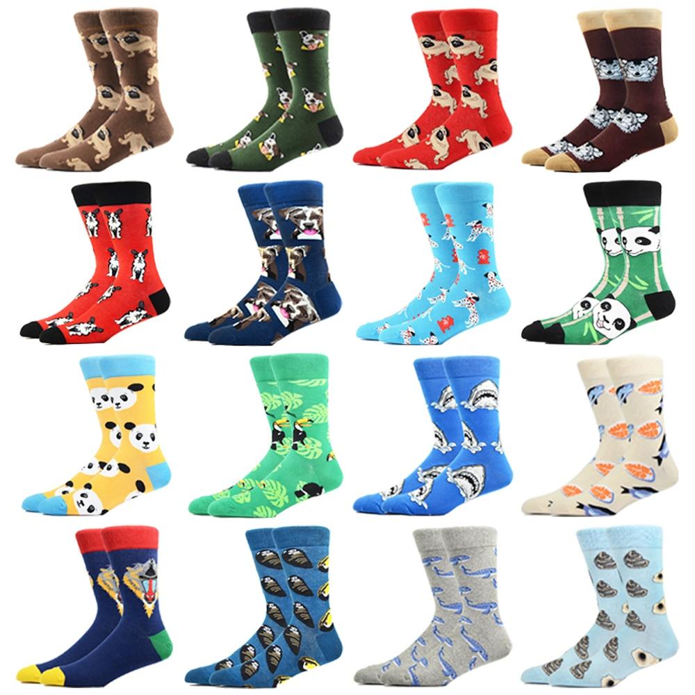 Носки мужские с модным рисунком, смешные Смешные цветные, роскошные сумасшедшие новинки, Классические хлопковые, счастливые смешные носки ...