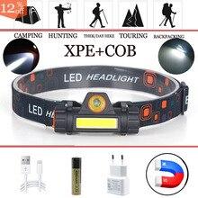 Linterna de cabeza portátil para bicicleta, luz LED Mini XPE Cob recargable por USB, para senderismo, pesca, iluminación al aire libre