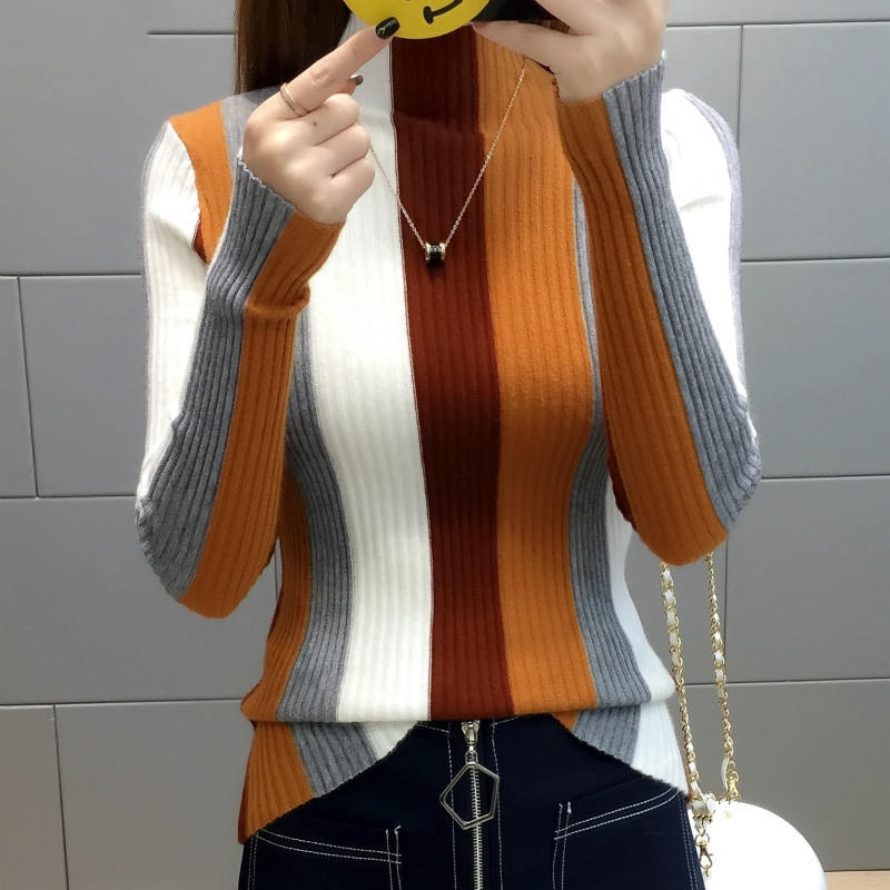 Rainbow Stripe Sweater contraste tejido Jersey 2019 manga larga cuello alto tejido moda mujeres delgadas Jersey