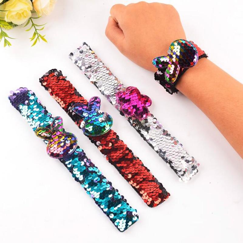 Pulsera mágica de sirena con lentejuelas, dos colores, Reversible, brillante, pulseras Slap, pulsera de amuletos para niños