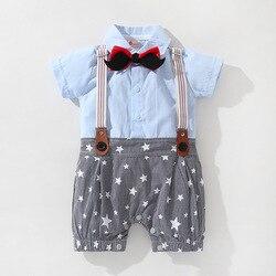 Macacão infantil bowknot manga curta subir lua cheia canonicals cavalheiro cinta de um ano de idade vestido recém-nascido macacão de uma peça