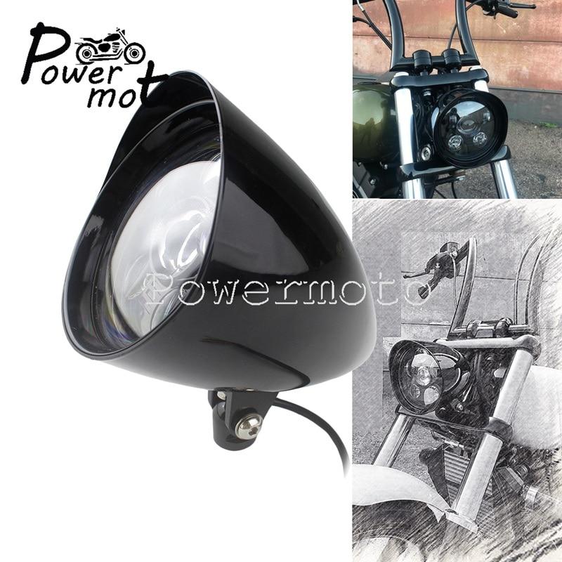 Universal Cafe Racer LED Billet bala faro LED/LO haz para Harley Touring Softail helicóptero Triumph Scrambler Bobber