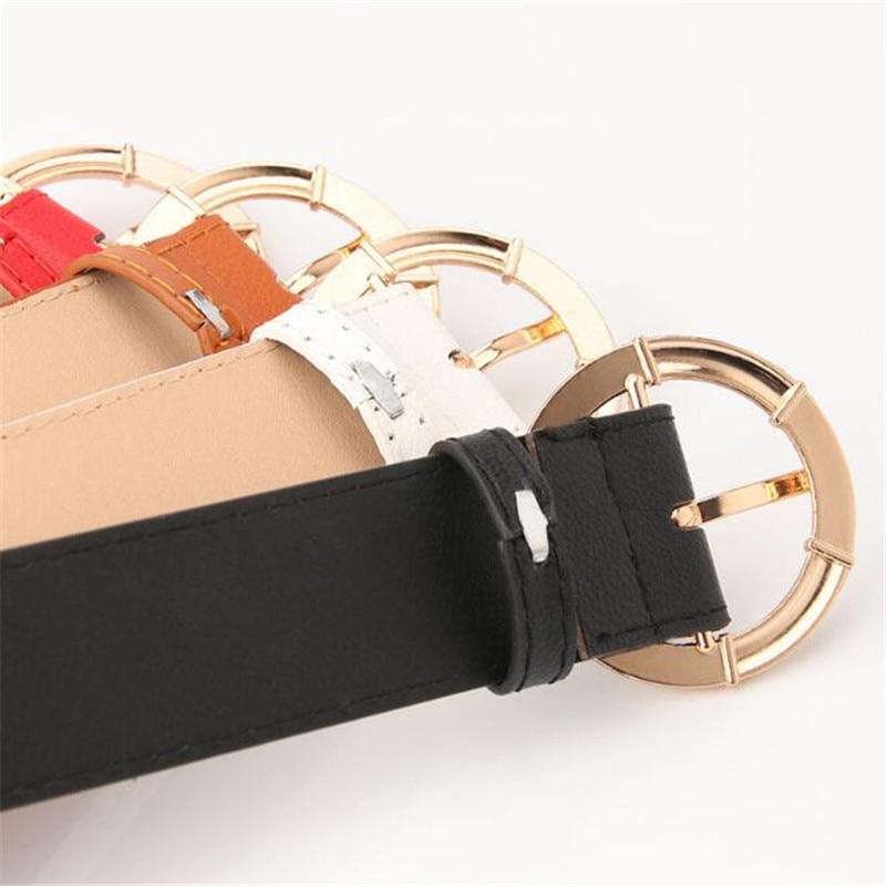 Metal C Buckle Solid PU Belt 106cm * 3.4cm Women Band Female Lady Casual Waistband Girls Girdle Strap