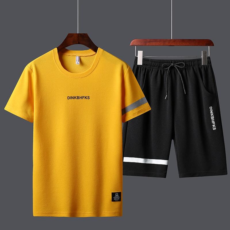 Летние мужские спортивные костюмы, футболки, шорты, наборы, полиэстер, модные спортивные костюмы, футболка, бермуды, мужские шорты с принтом