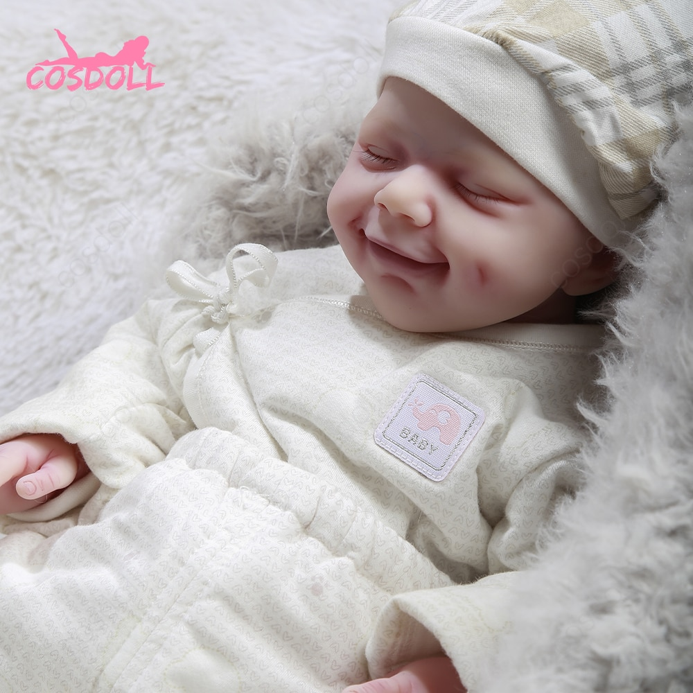 47cm Reborn Doll 3.25kg Bebe Dimpled smiling girl Lifelike Baby Newborn For Children Christmas and Birthday Gift Toys