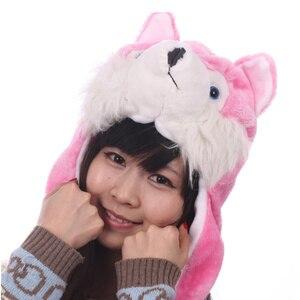 JOYHY Kids Boys Girls Cartoon Animal Hats Cute Pink Black Grey Coffee Wolf Plush Children Halloween Winter Warm Beanie Caps