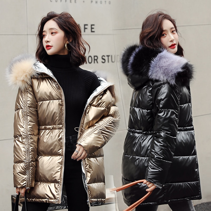 Frauen Winter Mantel Glänzend Weibliche Jacken Dicke Warme Parkas Große Pelz Schlank Schnee Tragen Mäntel Wasserdichte Wadded Jacke Orwindny