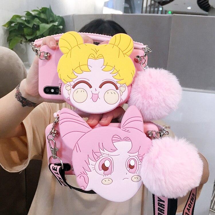 Para samsung s10 plus bolso de felpa lindo 3D Sailor Moon funda para samsung Galaxy s10plus s9/s8 plus s7 s7 Edge bolso de mano + correa