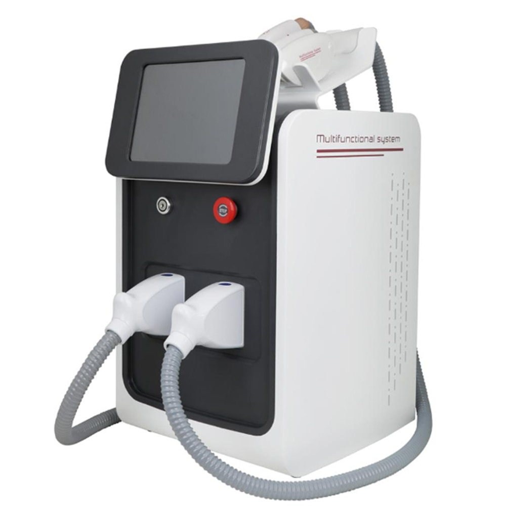 Купить с кэшбэком Hot sale 3 in1 E-light IPL RF Nd Yag Laser Multifunction Tattoo Removal Machine Permanent Laser Hair Removal Beauty Equipment CE