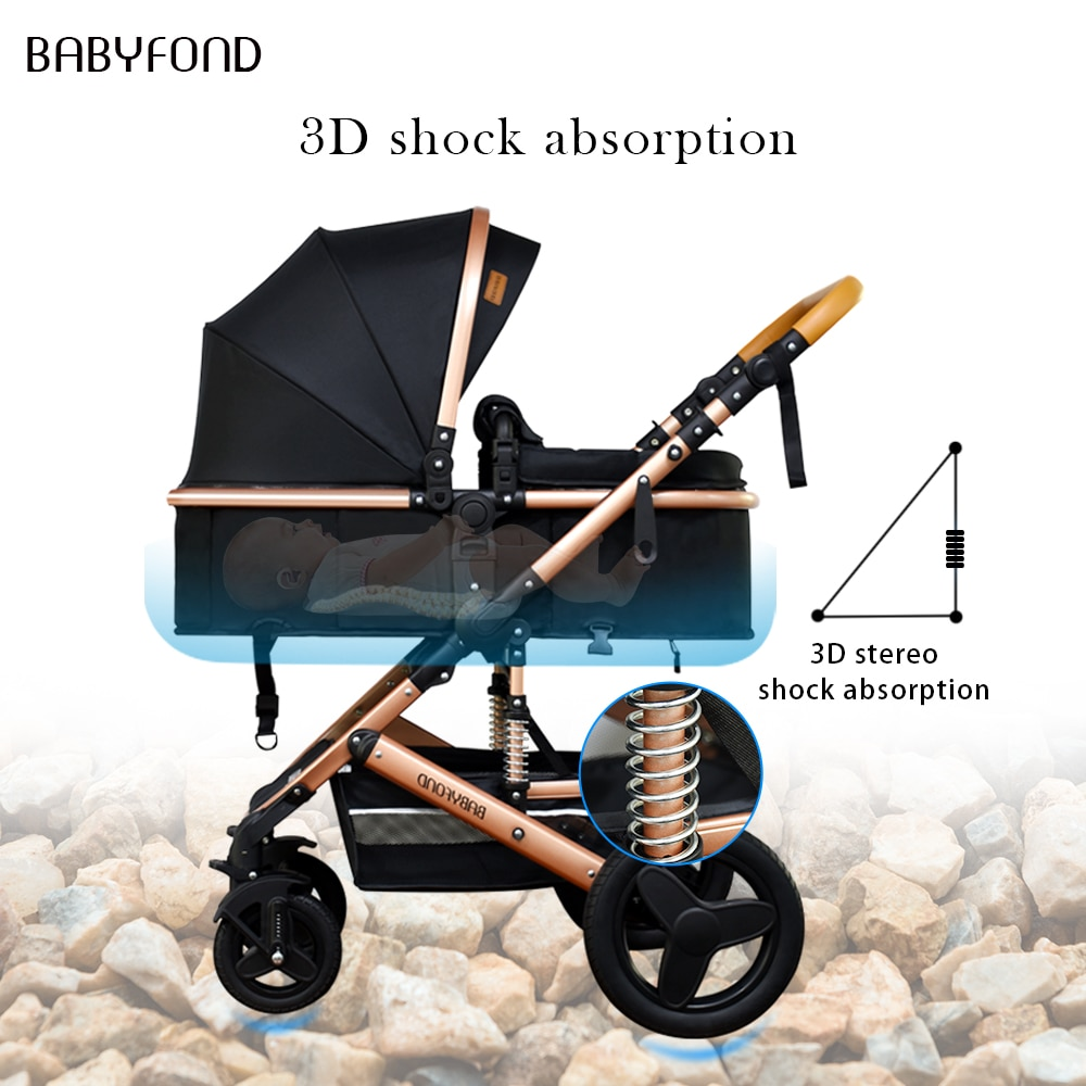 Babyfond 3 in 1 Baby stroller  Golden baby brand  portable child Baby carrier  stroller dual-use  4 in 1 pram with bags enlarge