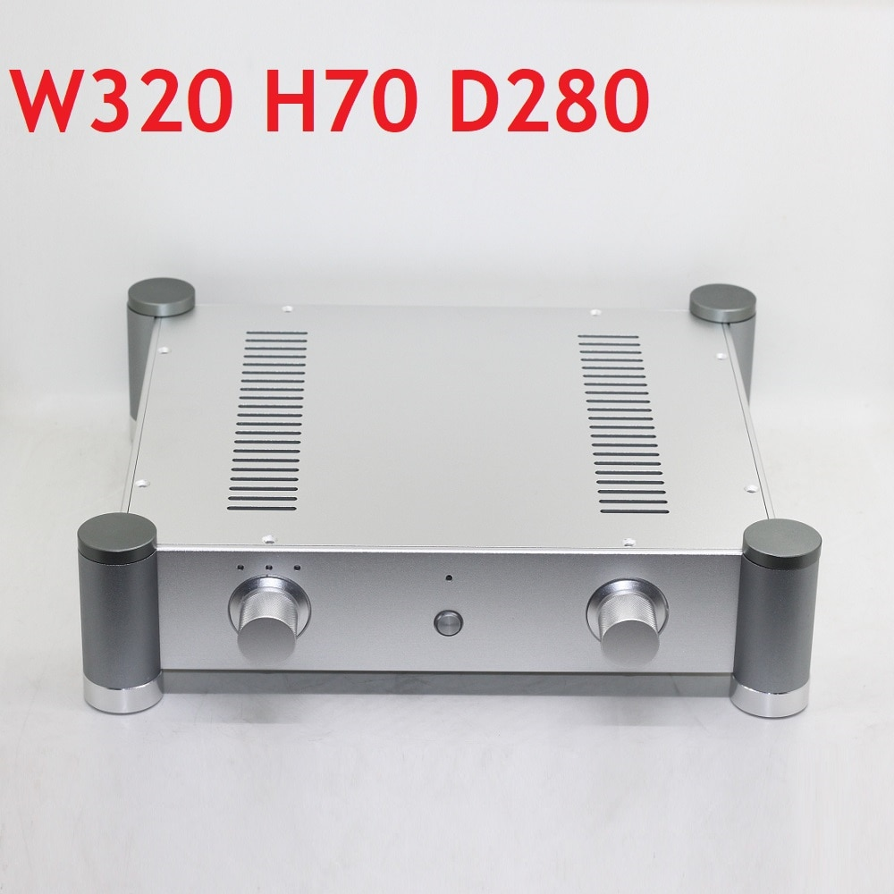 D280 W320 H70 DAC مكبر للصوت هيكل من الألومنيوم امدادات الطاقة لتقوم بها بنفسك مكبر كهربائي الإسكان الإسكان الخلفي أمبير مقبض التحكم لينة