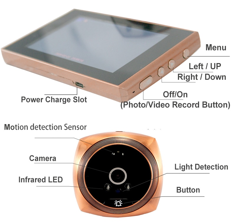 Auto Record Electronic Ring Night View Digital Door Viewer Entry Home Security Video Peephole Doorbell Camera Video-eye enlarge