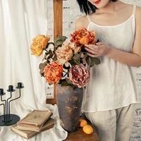Bouquet de roses artificielles pivoines de haute qualite  fleurs artificielles en soie  decoration dautomne  bricolage pour maison  jardin  mariage