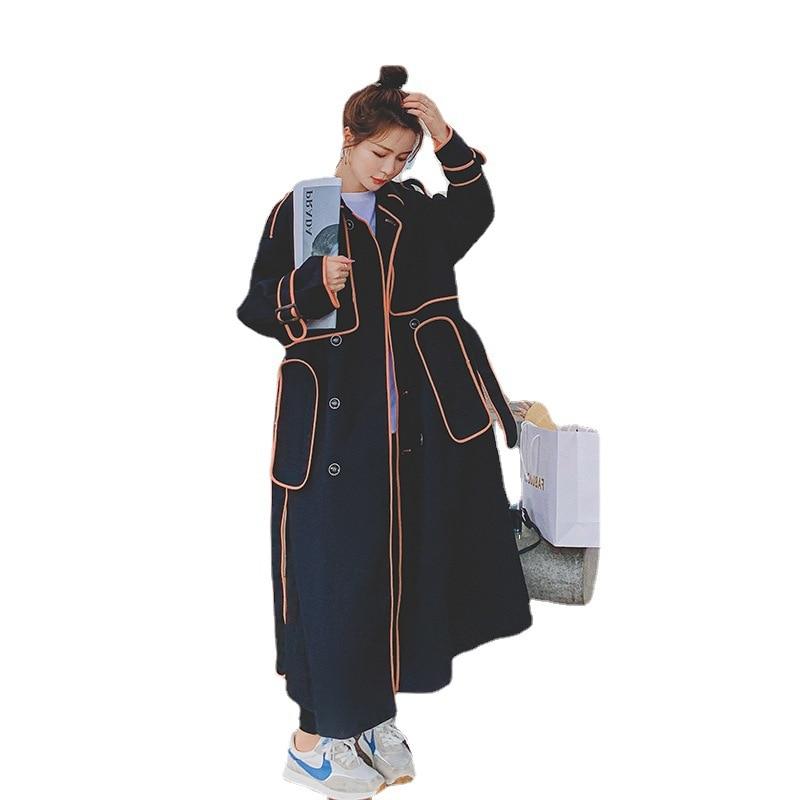 Новинка осени 2021, черная ветровка, Женская длинная куртка выше колена в стиле Хепберн, стильная Веерная модная драпированная куртка в стиле ...