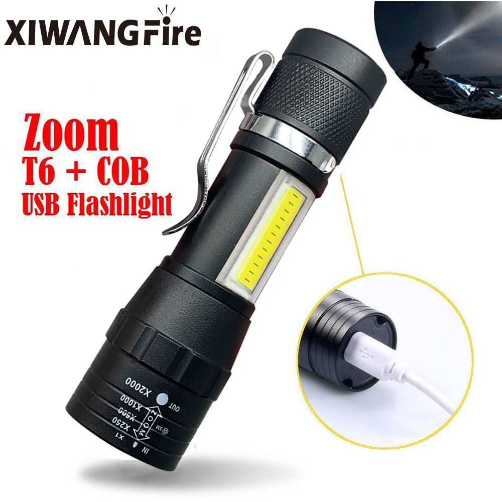 Портативный светодиодный фонарик T6 COB свет аккумулятор фонарик встроенный аккумулятор зум фонарик 3 режим водонепроницаемый аварийный фонарик