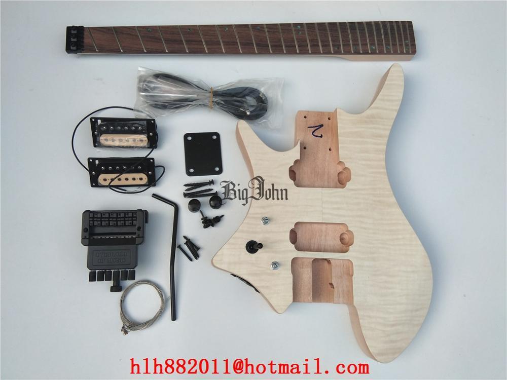 Sin la izquierda sin guitarra eléctrica avivado trastes palo de rosa diapasón y cuerpo de caoba Sin pintura BJ-324