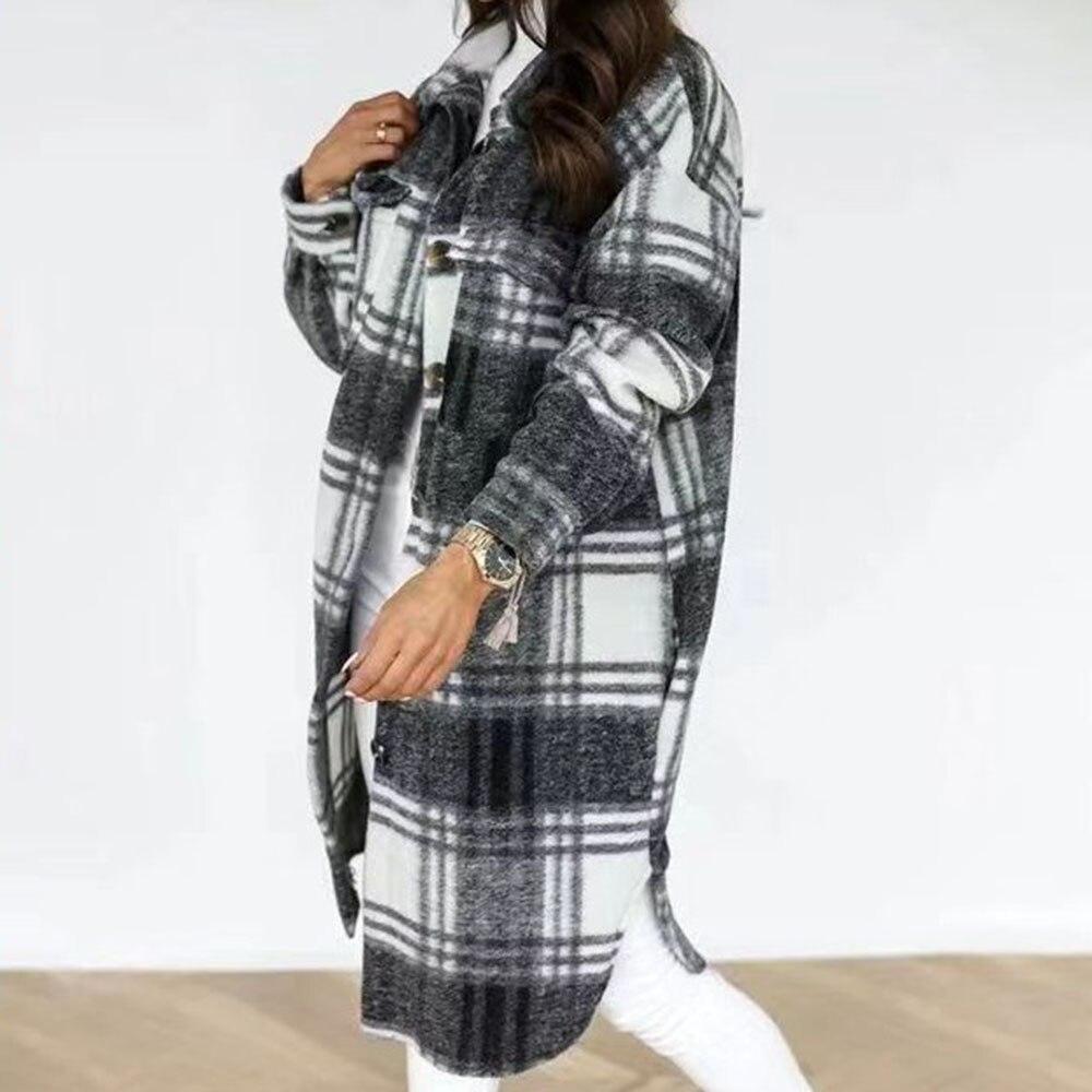2021 Western Style Autumn Winter New Long Sleeve Buttons Lapel Lattice Overcoat Women Fashion Casual