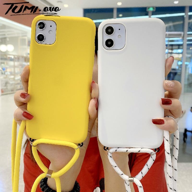 Candy Farbe Kette Lanyard Silikon Fall Für iPhone SE 2020 11 Pro Max XR XS X 7 8 6 6S Plus SE 2 Mit Neck Strap Seil Schnur Abdeckung