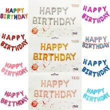 Ballons joyeux anniversaire à feuille 13 lettres/ensemble 16 pouces   Décoration de fête danniversaire, fournitures de réception-cadeau pour bébé, ballon à Air Alphabet pour enfants JL0002