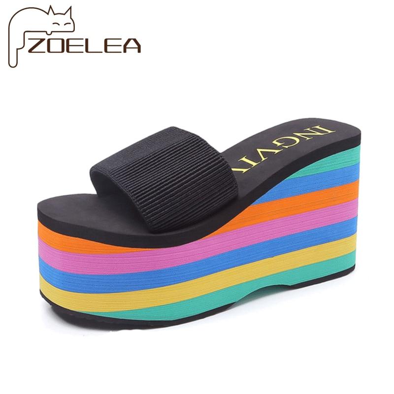 Summer Casual Muffin Slip on Platform Flip Flops New Women Wedges Sandals Ladies Sandals Party Peep Toe Sandals Sandalias Mujer