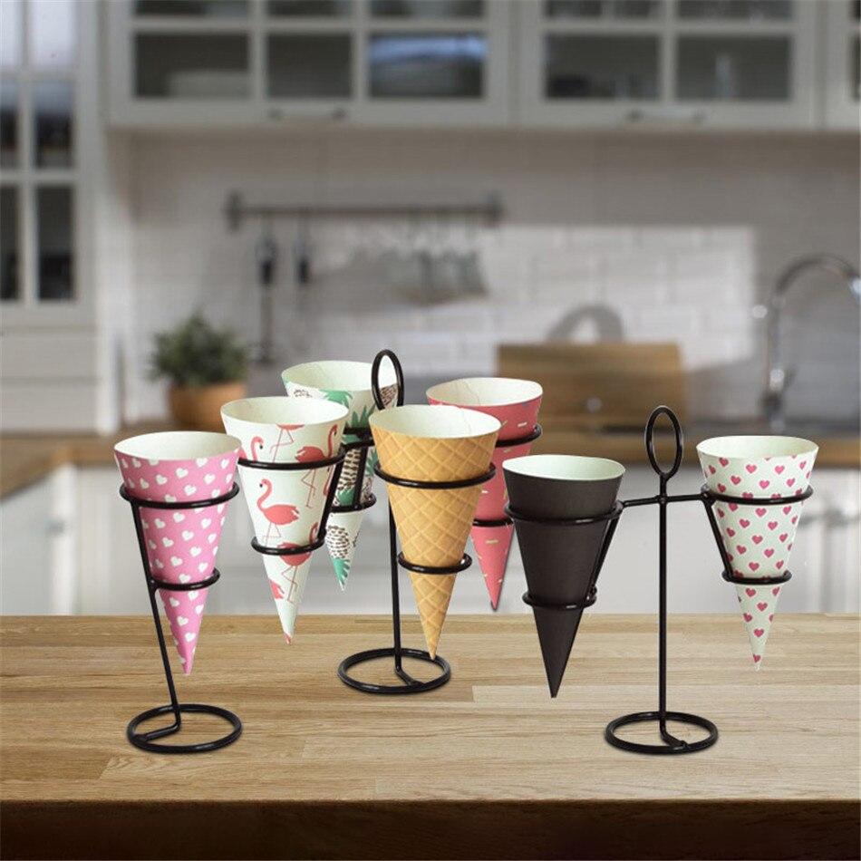 Витрина для мороженого из черного железа, витрина для витрины, подставка для конуса для мороженого, сверхмощный кондитерский декор для выпе...