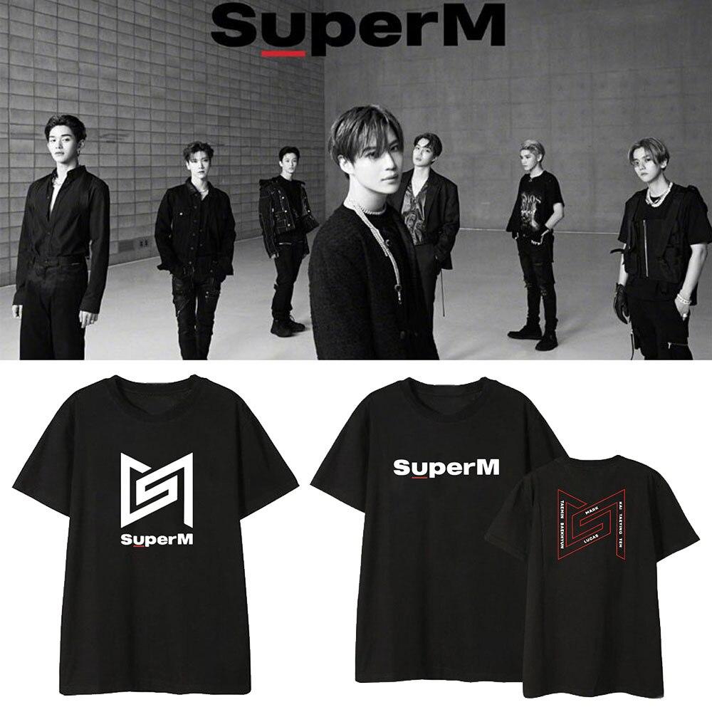 New Korean Fashion Kpop SuperM Album Peripheral Clothes Jin Zhongrenbian Boxian Li Taimin Same Type of Short-sleeved T-shirt