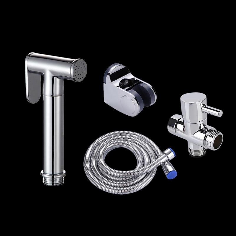 Grifo para bidé e inodoro portátil Kit de rociador de bidé de mano Set de cobre para baño Bidet Spray cabezal de ducha manguera adaptador T