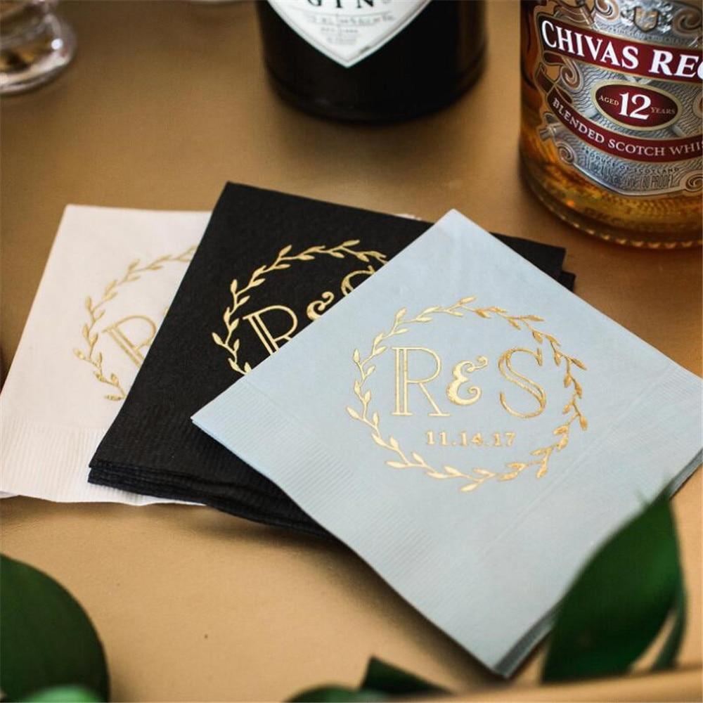 Personalized Wreath Wedding Paper Napkins Custom Mr & Mrs Cocktail Beverage Paper Serviette Bridal shower Table Decor Napkins
