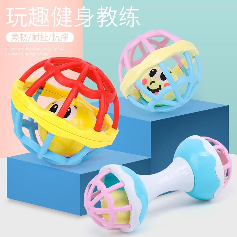 Sonajeros de silicona seguros sonajero mancuernas juguetes de desarrollo para edades tempranas diversión pequeña campana sonora bebé pelota con sonajero juguete de alta calidad para bebé